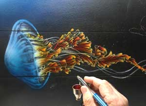 Airbrushing a jellyfish painting