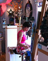 Kathleen Mazzotta at work in the gallery
